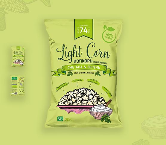 """Попкорн """"Сметана & зелень"""" - Lightcorn"""